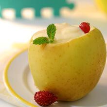 Manzana cocida con crema